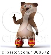 Clipart Of A 3d Brown Bear Holding Up A Finger And Roller Blading On A White Background Royalty Free Illustration