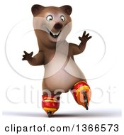 Clipart Of A 3d Brown Bear Roller Blading On A White Background Royalty Free Illustration