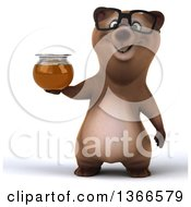 Clipart Of A 3d Bespectacled Brown Bear Holding A Honey Jar On A White Background Royalty Free Illustration