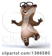 Clipart Of A 3d Bespectacled Brown Bear Jumping On A White Background Royalty Free Illustration