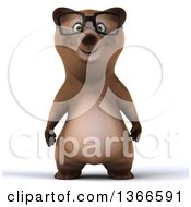 Clipart Of A 3d Bespectacled Brown Bear On A White Background Royalty Free Illustration by Julos