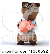 Clipart Of A 3d Bespectacled Brown Doctor Or Veterinarian Bear Holding A Piggy Bank On A White Background Royalty Free Illustration