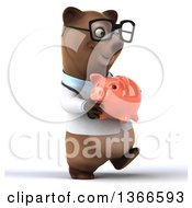 Clipart Of A 3d Bespectacled Brown Doctor Or Veterinarian Bear Walking And Holding A Piggy Bank On A White Background Royalty Free Illustration