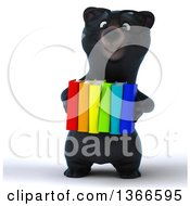 Clipart Of A 3d Bespectacled Black Bear Holding Books On A White Background Royalty Free Illustration