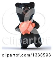 Clipart Of A 3d Bespectacled Black Business Bear Walking And Holding A Piggy Bank On A White Background Royalty Free Illustration