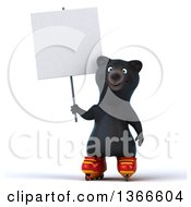 Clipart Of A 3d Black Bear Roller Blading And Holding A Blank Sign On A White Background Royalty Free Illustration