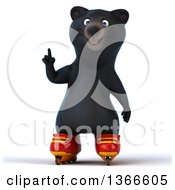 Clipart Of A 3d Black Bear Holding Up A Finger And Roller Blading On A White Background Royalty Free Illustration