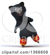 Clipart Of A 3d Black Bear Roller Blading On A White Background Royalty Free Illustration