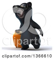 Clipart Of A 3d Black Bear Wearing Sunglasses And Walking With Rolling Luggage On A White Background Royalty Free Illustration