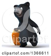 Clipart Of A 3d Black Bear Walking With Rolling Luggage On A White Background Royalty Free Illustration