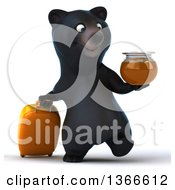 Clipart Of A 3d Black Bear Walking With A Honey Jar And Rolling Luggage On A White Background Royalty Free Illustration