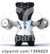 Clipart Of A 3d Bespectacled Black Bear Veterinarian Or Doctor Working Out Doing Lateral Raises With Dumbbells On A White Background Royalty Free Illustration
