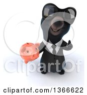 Clipart Of A 3d Black Business Bear Wearing Sunglasses Holding Up A Thumb And A Piggy Bank On A White Background Royalty Free Illustration
