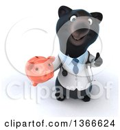 Clipart Of A 3d Black Bear Veterinarian Or Doctor Holding Up A Thumb And A Piggy Bank On A White Background Royalty Free Illustration by Julos