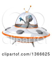 Clipart Of A 3d Alien Giving A Thumb Down And Flying A Ufo On A White Background Royalty Free Illustration