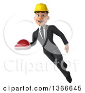 Clipart Of A 3d Young White Male Contractor Holding A Beef Steak And Flying On A White Background Royalty Free Illustration