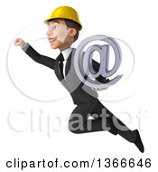 Clipart Of A 3d Young White Male Contractor Holding An Email Arobase At Symbol And Flying On A White Background Royalty Free Illustration