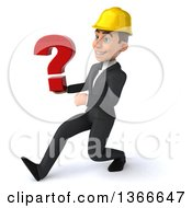 Clipart Of A 3d Young White Male Contractor Holding A Question Mark And Speed Walking On A White Background Royalty Free Illustration