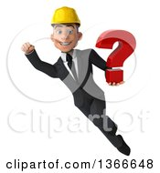 Clipart Of A 3d Young White Male Contractor Holding A Question Mark And Flying On A White Background Royalty Free Illustration