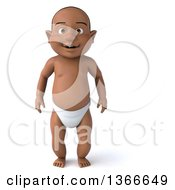 Clipart Of A 3d Happy Black Baby Boy On A White Background Royalty Free Illustration