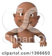 Clipart Of A 3d Happy Black Baby Boy Pointing Down Over A Sign On A White Background Royalty Free Illustration