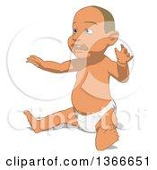 Poster, Art Print Of Cartoon White Baby Boy Sitting On A White Background