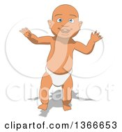 Poster, Art Print Of Cartoon White Baby Boy Walking On A White Background