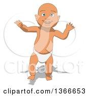 Poster, Art Print Of Cartoon White Baby Boy Walking On A White Background