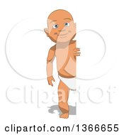Clipart Of A Cartoon White Baby Boy Looking Around A Sign On A White Background Royalty Free Illustration