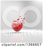 Clipart Of A 3d Broken Shattered Red Heart With Pieces Floating Away On A Gray Background Royalty Free Illustration