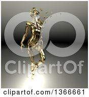 Clipart Of A 3d Broken Shattered Gold Woman With Pieces Floating Away On A Gradient Background Royalty Free Illustration
