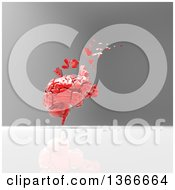 Clipart Of A 3d Red Human Brain Crumbling And Floating Away On A Gray Background Royalty Free Illustration