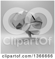Clipart Of A 3d Grayscale Human Brain On A Gray Background Royalty Free Illustration