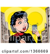Clipart Of A Retro Woman Holding A Smart Phone And Reading A Shocking Notification Royalty Free Vector Illustration