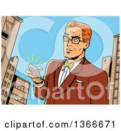 Clipart Of A Retro Comic Styled Bespectacled Red Haired Caucasian Man Holding A Ringing Smart Phone In A City Royalty Free Vector Illustration