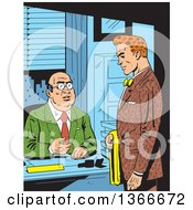 Clipart Of A Retro Comic Styled Red Haired Caucasian Businessman Meeting With His Boss Royalty Free Vector Illustration