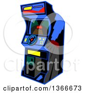 Clipart Of A Cartoon Retro Video Driving Arcade Game With A Steering Wheel Royalty Free Vector Illustration