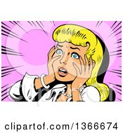 Retro Blond Caucasian Dramatic Woman Touching Her Face And Looking Shocked Over Pink