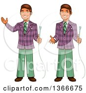Cartoon Happy Retro Male Game Show Host Shown Holding A Microphone Gesturing And Presenting