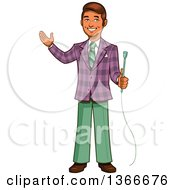 Clipart Of A Cartoon Happy Retro Male Game Show Host Holding A Microphone And Presenting Royalty Free Vector Illustration by Clip Art Mascots