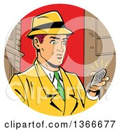 Clipart Of A Retro Caucasian Man In A Fedora Hat And Yellow Suit Holding A Ringing Smart Phone Royalty Free Vector Illustration