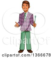 Cartoon Happy Retro Male Game Show Host Holding A Microphone And Gesturing