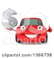 Clipart Of A 3d Happy Red Porsche Car Holding A Thumb Up And Dollar Currency Symbol Royalty Free Illustration