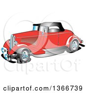 Clipart Of A Red Antique 1934 Coupe Car Royalty Free Vector Illustration
