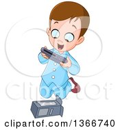 Cartoon Excited Brunette White Boy In His Pajamas Kneeling And Opening A Christmas Or Birthday Gift