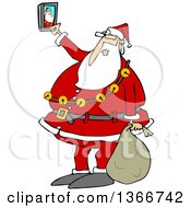 Clipart Of A Cartoon Christmas Santa Claus Taking A Selfie With A Smart Phone Royalty Free Vector Illustration by Dennis Cox