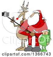 Cartoon Christmas Santa Claus Elf And Rudolph The Red Nosed Reindeer Taking A Picture With A Smart Phone And Selfie Stick