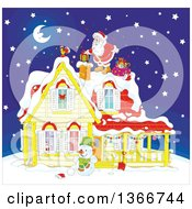 Clipart Of Santa Claus On A Roof Top Dropping A Gift Down A Chimney On A Snowy Christmas Eve Night Royalty Free Vector Illustration by Alex Bannykh