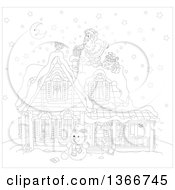 Clipart Of Black And White Santa Claus On A Roof Top Dropping A Gift Down A Chimney On A Snowy Christmas Eve Night Royalty Free Vector Illustration