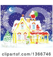 Clipart Of Santa Claus On A Roof Top On A Snowy Christmas Eve Night Royalty Free Vector Illustration